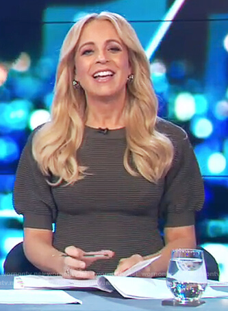 Carrie's green ribbed puff sleeve dress on The Project