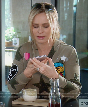 Tamra's green star patch hoodie on The Real Housewives of Orange County