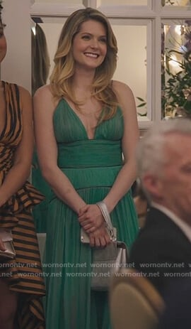 Sutton's green plunging maxi dress on The Bold Type