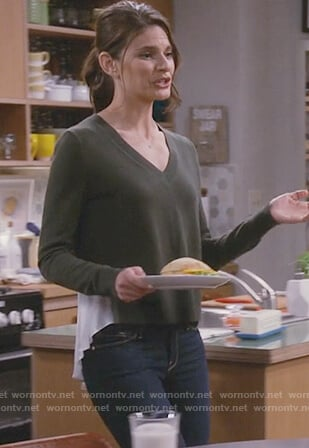 Leslie's green mixed media sweater on Living Biblically