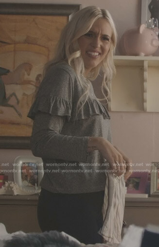 Maddie's grey ruffled long sleeve top on Nashville