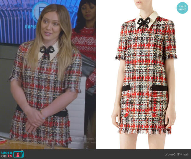 Embroidered Multicolor Tweed Dress by Gucci worn by Hilary Duff on Younger