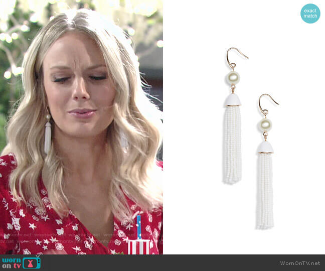 Halogen Beaded Tassel Earrings worn by Melissa Ordway on The Young & the Restless