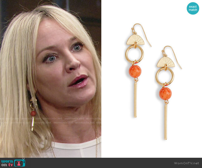 Halogen Geo Linear Drop Earrings worn by Sharon Case on The Young & the Restless