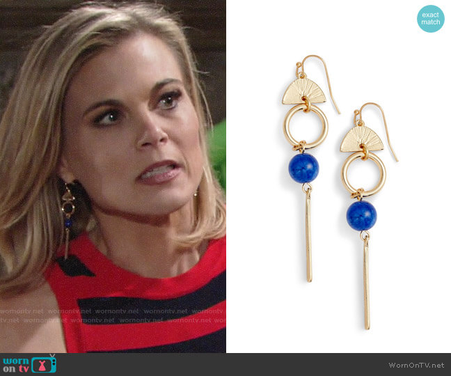 Halogen Geo Linear Drop Earrings worn by Phyllis Newman (Gina Tognoni) on The Young & the Restless
