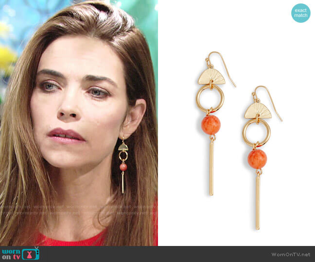 Halogen Geo Linear Drop Earrings  worn by Amelia Heinle on The Young & the Restless