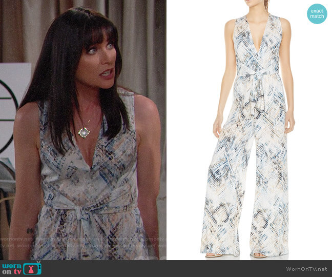 Haute Hippie Lounge Snakeskin-Print Wide-Leg Jumpsuit worn by Rena Sofer on The Bold & the Beautiful