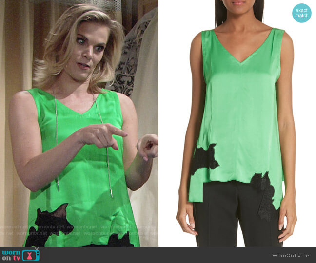 Helmut Lang Lace Inset Satin Tank Top worn by Phyllis Newman (Gina Tognoni) on The Young & the Restless