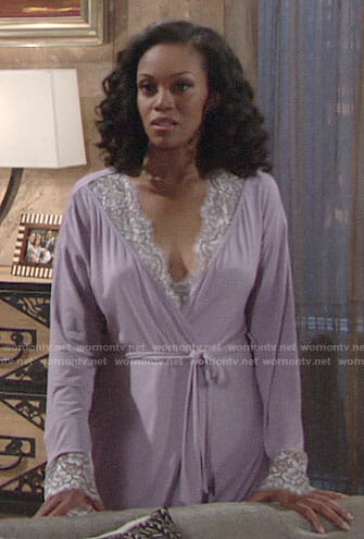 Hilary's purple lace-trim robe on The Young and the Restless