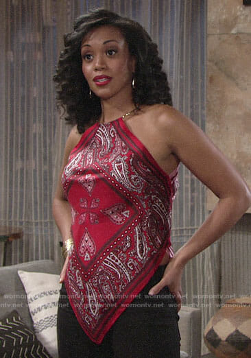 Hilary's red bandana print top on The Young and the Restless