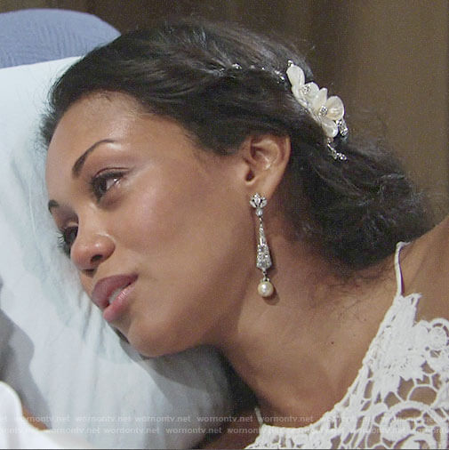Hilary's wedding earrings and hair piece on The Young and the Restless