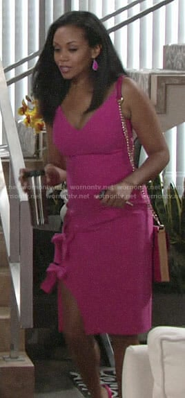 Hilary's pink bow detail dress on The Young and the Restless