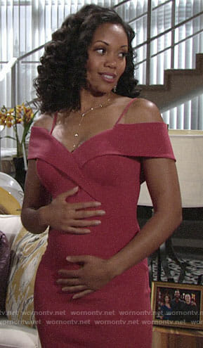 Hilary's red cold-shoulder dress on The Young and the Restless