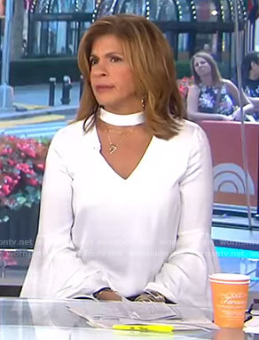 Hoda's white choker neck top with bell sleeves on Today