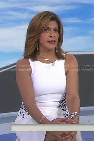 Hoda's white dress with vine embroidery on Today