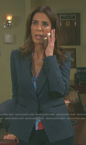 Hope's blue floral shirt and herringbone blazer on Days of our Lives