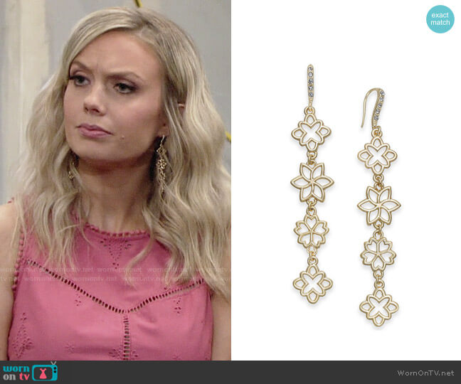 INC International Concepts Flower Linear Drop Earrings worn by Melissa Ordway on The Young & the Restless