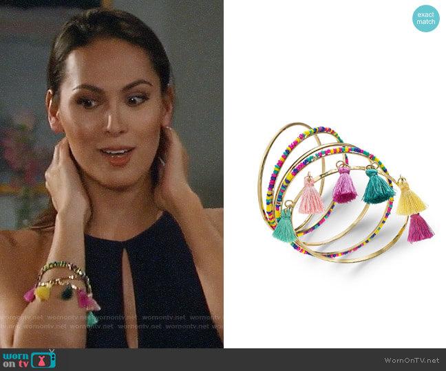 INC International Concepts Wrapped & Tassel Bangle Bracelets worn by Terri on General Hospital