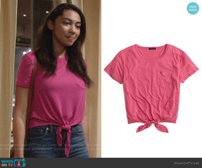 J. Crew Knotted Pocket Tee worn by Shauna (Camryn Hamm) on The Young & the Restless
