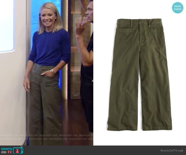 Point Sur Washed Wide Leg Crop Pants by J. Crew worn by Kelly Ripa on Live with Kelly & Ryan