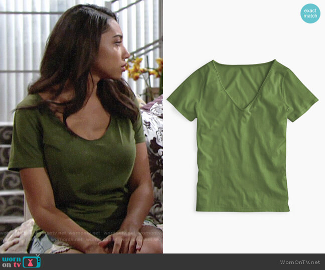 J. Crew Supersoft Supima® raw-edge V-neck T-shirt in Dark Moss worn by Shauna (Camryn Hamm) on The Young & the Restless