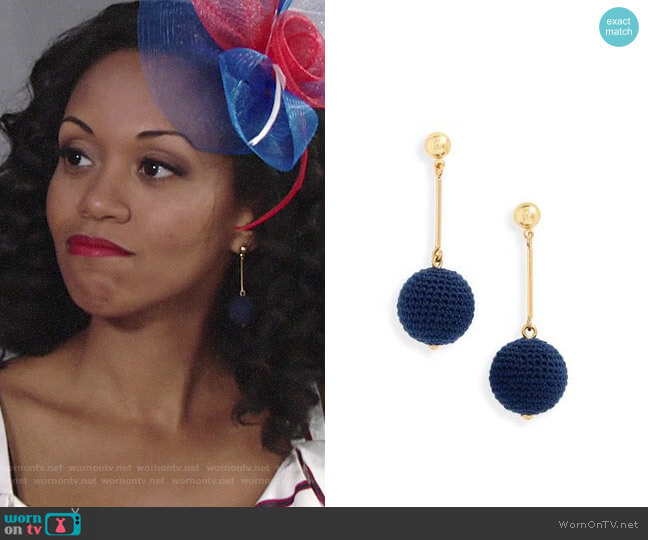 J. Crew Crochet Ball Drop Earrings worn by Mishael Morgan on The Young & the Restless