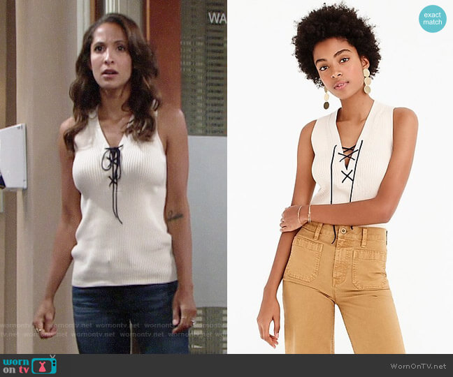J. Crew Ribbed Lace-Up Sweater Tank worn by Christel Khalil on The Young & the Restless