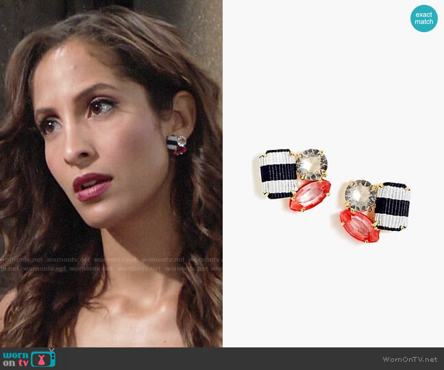 J. Crew Ribbon and Stone Cluster Earrings worn by Christel Khalil on The Young & the Restless
