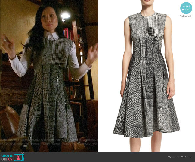 Jason Wu Sleeveless Houndstooth Jacquard Dress worn by Joan Watson (Lucy Liu) on Elementary