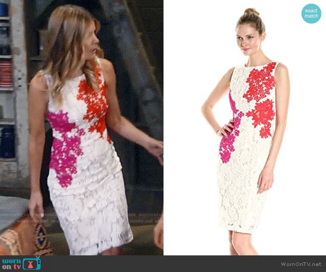 Jax All Over Lace Sheath With Embroidered Flowers worn by Michelle Stafford on General Hospital