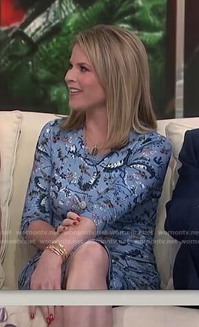 Jenna's blue floral long sleeve dress on Today