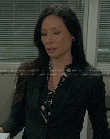 Joan's star print blouse on Elementary