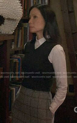 Joan's grey plaid skirt on Elementary