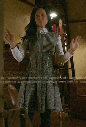 Joan's houndstooth dress on Elementary
