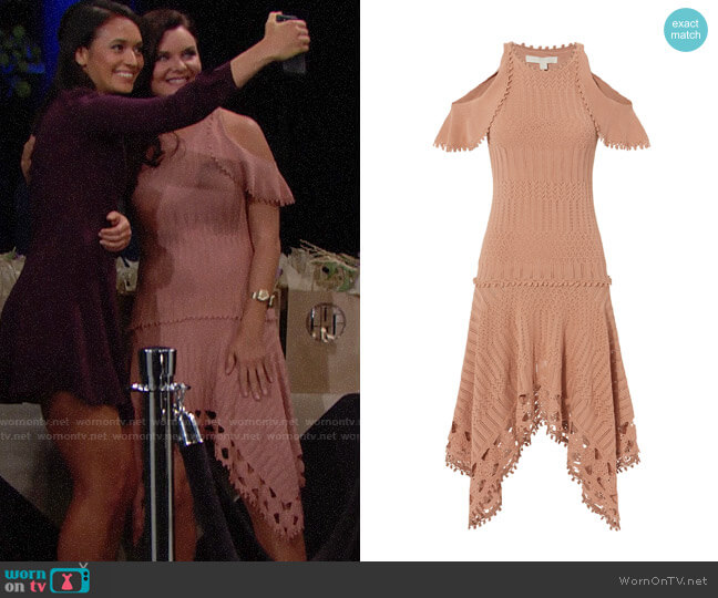 Jonathan Simkhai Crochet Handkerchief Hem Dress worn by Katie Logan (Heather Tom) on The Bold & the Beautiful