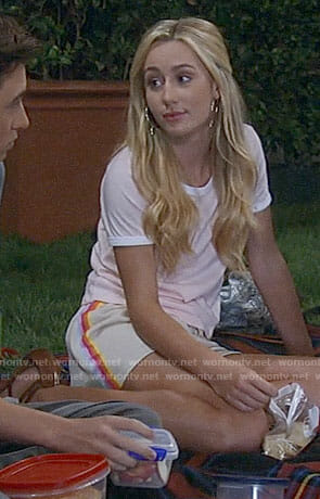 Josslyn's pink tee and side stripe shorts on General Hospital