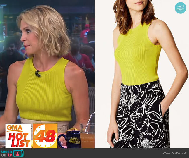 Ribbed Tank Top by Karen Millen worn by Amy Robach  on Good Morning America