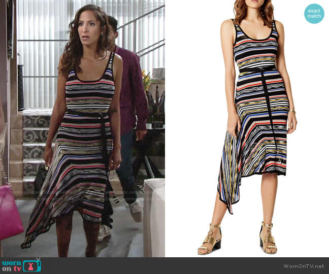 Karen Millen Asymmetric Striped Dress worn by Christel Khalil on The Young & the Restless