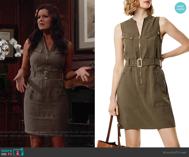 Karen Millen Belted Utility Dress worn by Heather Tom on The Bold & the Beautiful