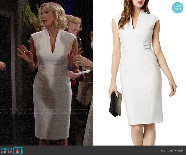 Karen Millen Ruched Sheath Dress worn by Brooke Logan (Katherine Kelly Lang) on The Bold & the Beautiful