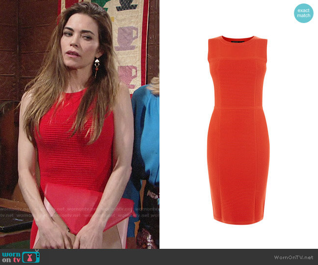Karen Millen Textured Knit Pencil Dress worn by Amelia Heinle on The Young & the Restless