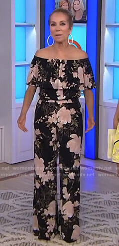 Kathie's black floral off shoulder jumpsuit on Today