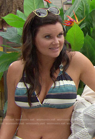 Katie's green striped bikini on The Bold and the Beautiful