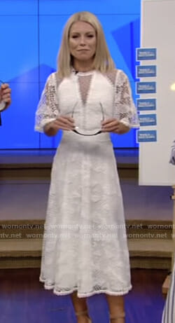Kelly's white short sleeve lace midi dress on Live with Kelly and Ryan