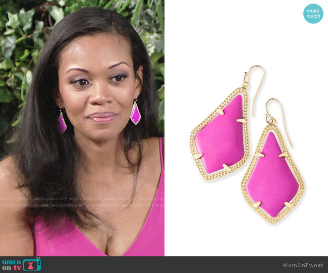 Kendra Scott Pink Alex Earrings worn by Hilary Curtis (Mishael Morgan) on The Young & the Restless