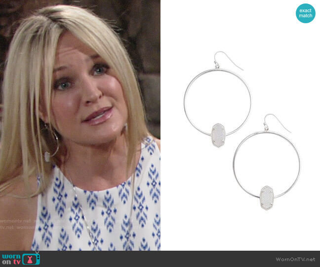 Kendra Scott Elora Frontal Hoop Earrings worn by Sharon Case on The Young & the Restless