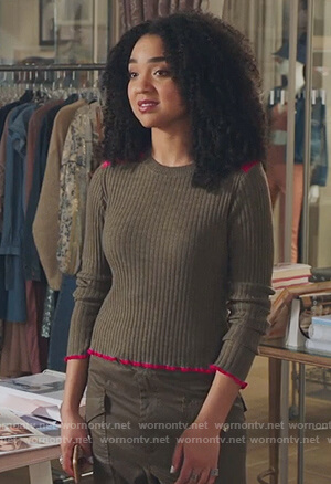 Kat's khaki ribbed sweater on The Bold Type