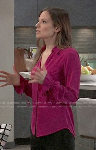 Kim's pink button front blouse with ruffle cuffs on General Hospital