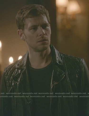 Klaus's black leather moto jacket on The Originals
