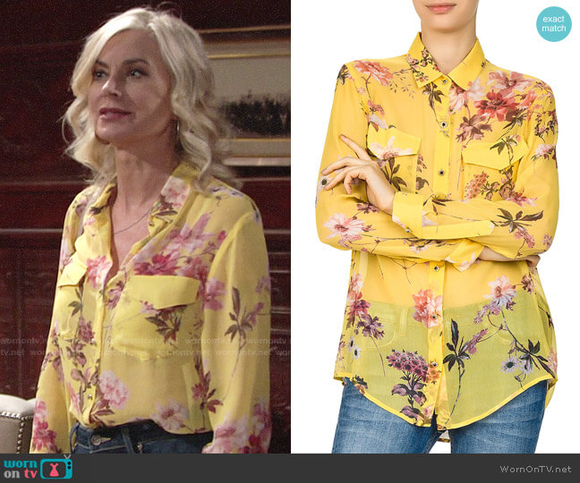 The Kooples Moulin Jaune Sheer Floral-Print Silk Shirt worn by Ashley Abbott (Eileen Davidson) on The Young & the Restless